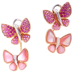 Paris Craft House Pink Sapphire Mother of Pearl Diamond 2-Way Butterfly Earrings