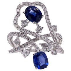 Paris Craft House Royal Blue Sapphire Diamond Ring in 18 Karat White Gold