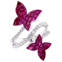Paris Craft House Ruby Diamond Butterfly Ring in 18 Karat White Gold