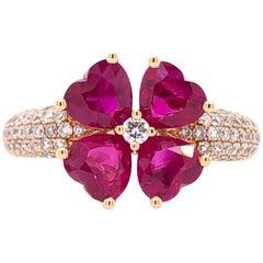 Paris Craft House Ruby Diamond Clover Ring in 18 Karat Rose Gold
