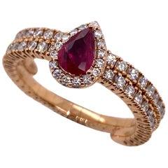 Paris Craft House Ruby Diamond Elastic Band Ring in 18 Karat Rose Gold