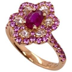Paris Craft House Ruby Diamond Floral Ring in 18 Karat Rose Gold