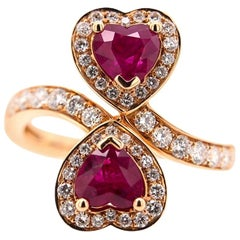 Paris Craft House Ruby Diamond Love Hearts Ring in 18 Karat Rose Gold