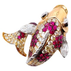Paris Craft House Ruby Diamond Lucky Fish Ring in 18 Karat White and Rose Gold
