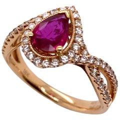 Paris Craft House Ruby Diamond Ring in 18 Karat Rose Gold