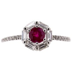 Paris Craft House Ruby Diamond Ring in 18 Karat White Gold