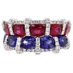 Paris Craft House Ruby Sapphire Diamond Ring in 18 Karat White Gold