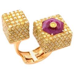 Paris Craft House Ruby Yellow Diamond Ring in 18 Karat Yellow Gold