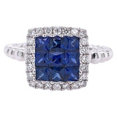 Paris Craft House Sapphire Diamond Cluster Ring in 18 Karat White Gold
