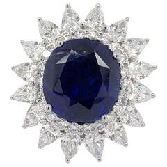 Paris Craft House Sapphire Diamond Cocktail Ring in 18 Karat White Gold