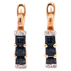 Paris Craft House Sapphire Diamond Hoop Stud Earrings in 14 Karat Rose Gold