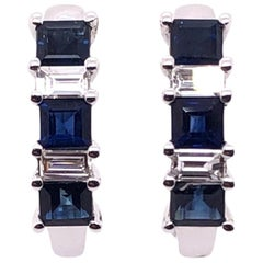 Paris Craft House Sapphire Diamond Hoop Stud Earrings in 18 Karat White Gold