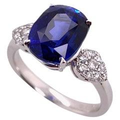 Paris Craft House 5.18ct Sapphire Diamond Ring in 18 Karat White Gold