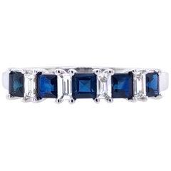 Paris Craft House Sapphire Diamond Ring in 18 Karat White Gold