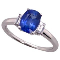 Paris Craft House Blue Sapphire Diamond Three Stone Ring in 18 Karat White Gold