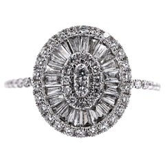 Paris Craft House Tapered Baguette Diamond Cluster Ring in 18 Karat White Gold