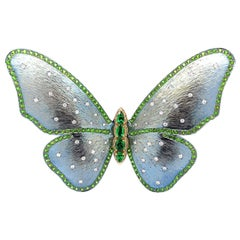 Paris Craft House Tsavorite Diamond Butterfly Brooch Pin in Titanium 18K Gold