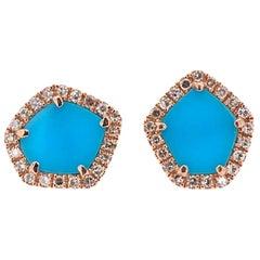 Paris Craft House Turquoise Diamond Earrings in 14 Karat Rose Gold