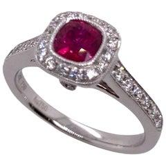 Paris Craft House Vivid Red Ruby Diamond Filigree Ring in 18 Karat White Gold
