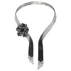 Paris Craft House White Black Diamond Flower Necklace in 18 Karat White Gold