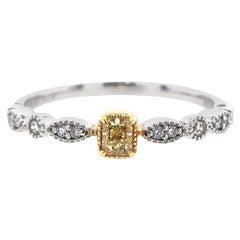 Paris Craft House Yellow Diamond Filigree Band Ring in 18 Karat Gold