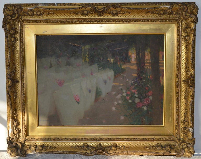 Lovely painting of a distant female figure in a Paris flower market  By Scottish artist Stuart Hobkirk  It reminds me of work by the Scottish Colorists  In unrestored condition.  Oil on board  Original gilt gesso frame. Frame needs