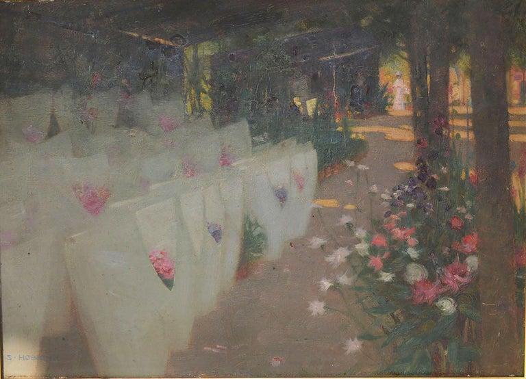 Painted Paris Flower Market, Stuart Hobkirk, circa 1910 For Sale