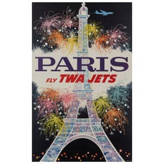 """Paris, Fly Twa Jets"" Original Vintage Travel Poster by David Klein, 1962"