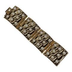 Oranium Paris, France 1950s Wide Gold Quilt & White Cabochon Bracelet