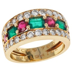 Paris, France Van Cleef & Arpels Emerald and Round Ruby and Diamond Band Ring