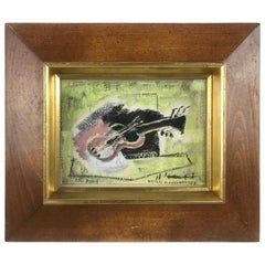"""Paris Guitar"" Capsule Framed Abstract Midcentury by Nicolai Kuvshinoff"