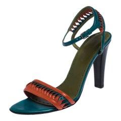 Paris Multicolor Leather Twist Detail Ankle Strap Sandals Size 38.5