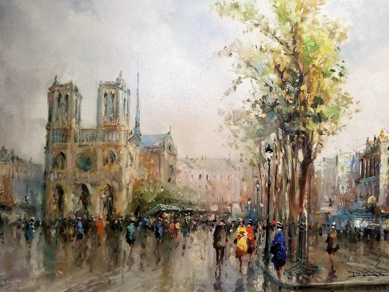 Expressionist Paris Notre Dame Oil on Canvas by Demone For Sale