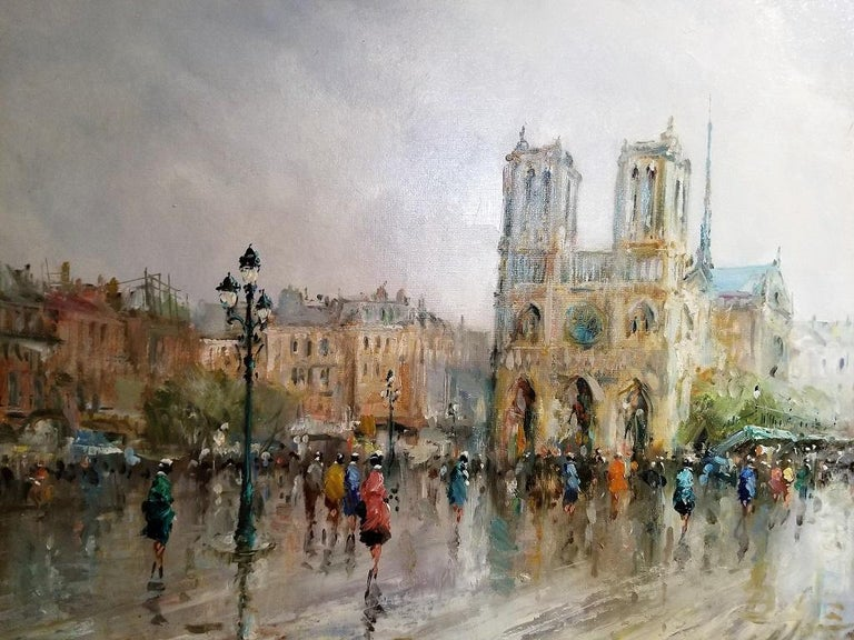 French Paris Notre Dame Oil on Canvas by Demone For Sale