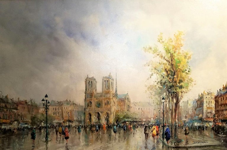 Hand-Crafted Paris Notre Dame Oil on Canvas by Demone For Sale