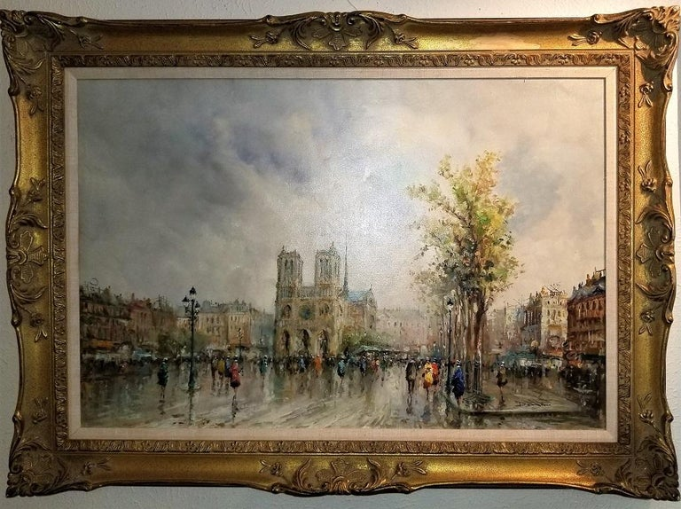 Paris Notre Dame Oil on Canvas by Demone In Good Condition For Sale In Dallas, TX
