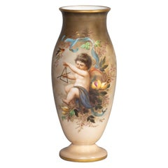 French Opaline Glass Painted Vase, Late 19th Century