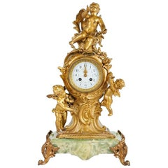 Paris Ormolu Chérub in Gilt Bronze and Onyx Mantle Clock, 19th Century