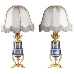 Paris Porcelain and Ormolu Oil Lamps with Polychromatic Decoration