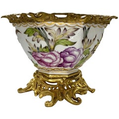 Paris Porcelain Bowl with Ormolu Mounts, circa 1880