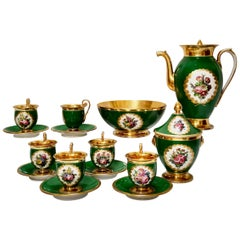 Paris Porcelain Coffee Service, Emerald Green and Floral, Empire Style ca 1820