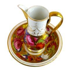 Paris Porcelain Floral Ewer and Basin