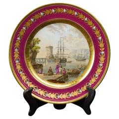 Paris Porcelain Plate with Harbour Scene after Lorrain, Attrib. Nast, circa 1810