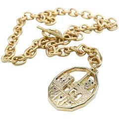 Chunky Chain Necklace White Diamond Sapphire Ruby Paris Souvenir Pendant
