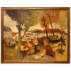 Paris Street Cafe in Autumn by Paris School Artist Eliane Thiollier