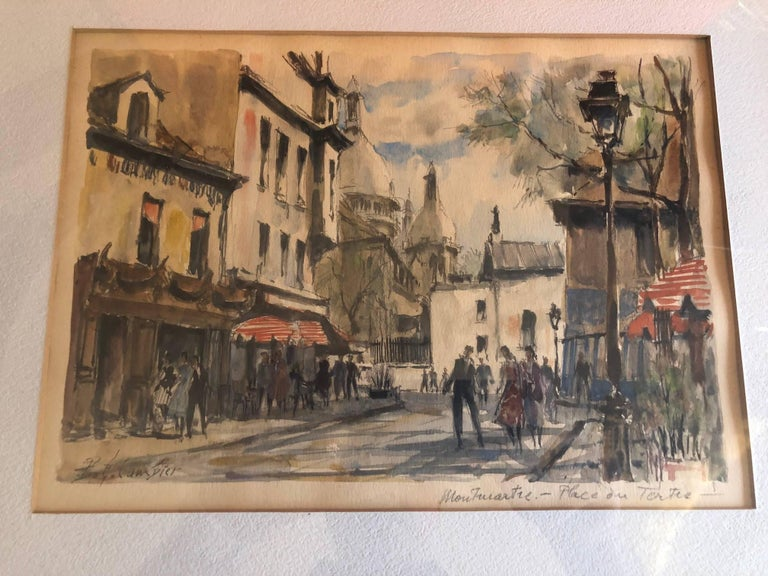 A wonderful and vibrant Parisian street scene original watercolor by listed artist Pierre Eugene Cambier (1914-2000), circa 1950's. The piece maintains its original vintage 18