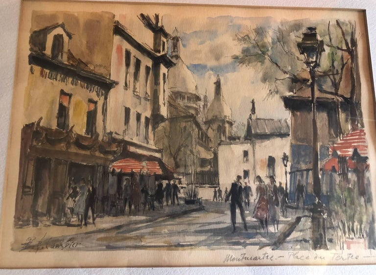 Paris Street Scene Watercolor by Pierre Eugene Cambier For Sale 2