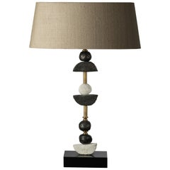 'Paris' Table Lamp, Brass, Slate, Bronze and White Resin