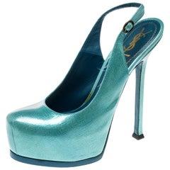 Paris Textured Patent Leather Tribtoo Platform Slingback Sandals Size 38.5