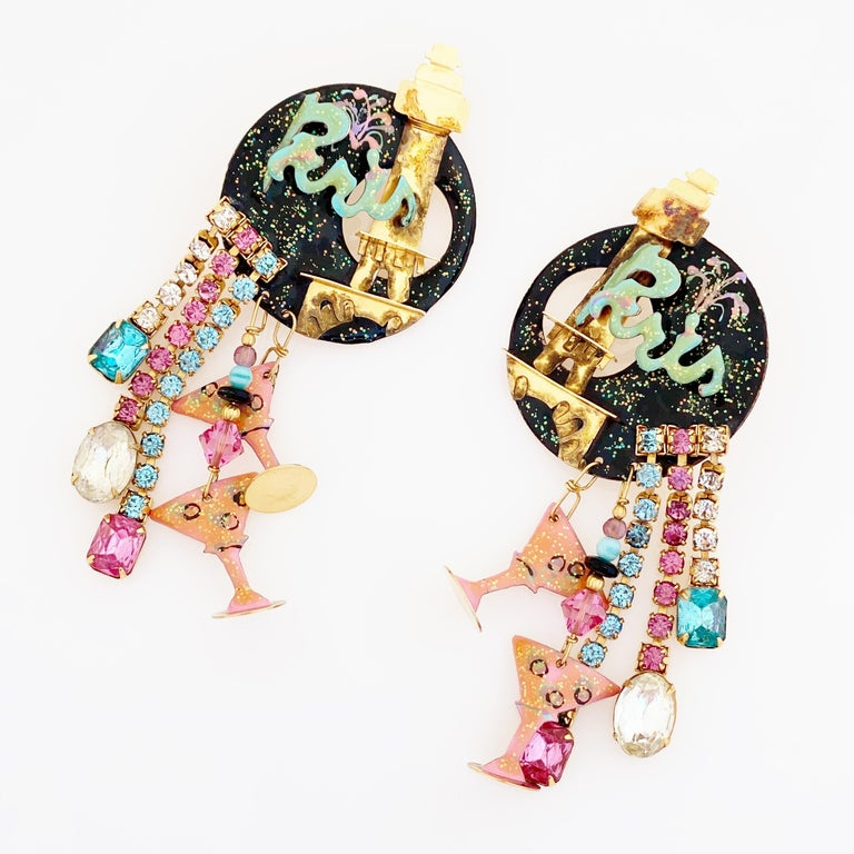 Modern Paris Themed Enamel Dangle Statement Earrings By Lunch At The Ritz, 1980s For Sale